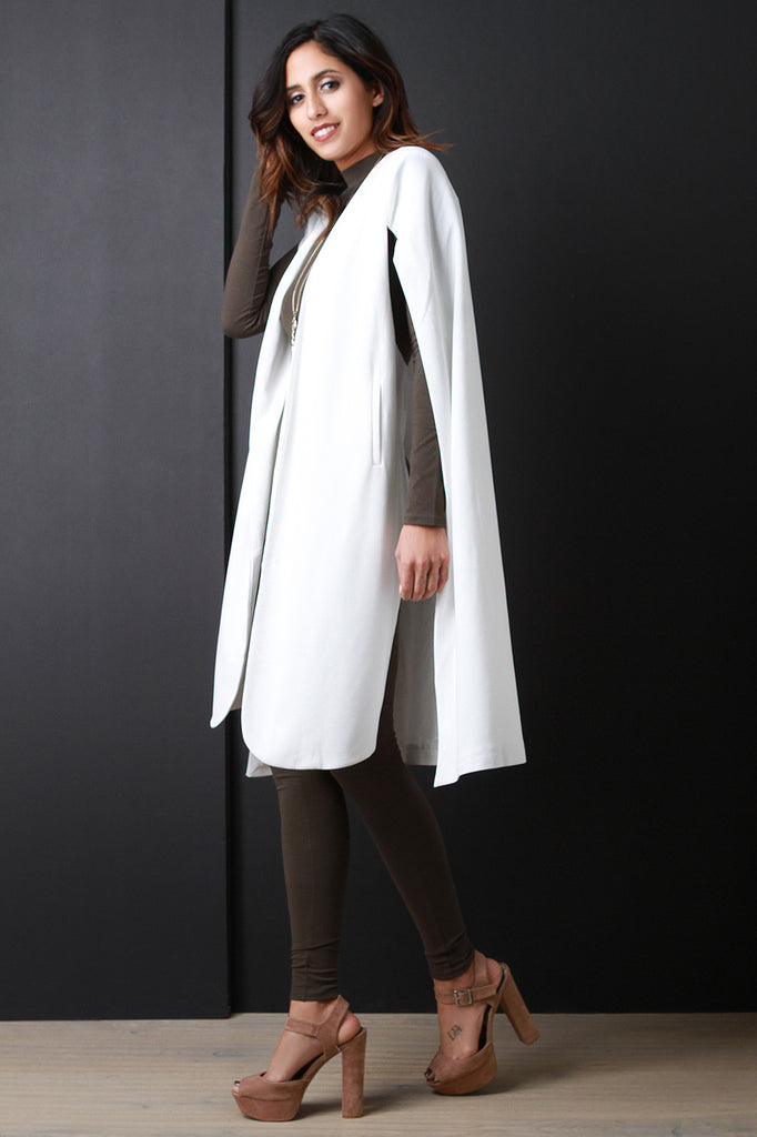 Longline Padded Shoulder Cape Blazer - Rich Girl's Closet - 2