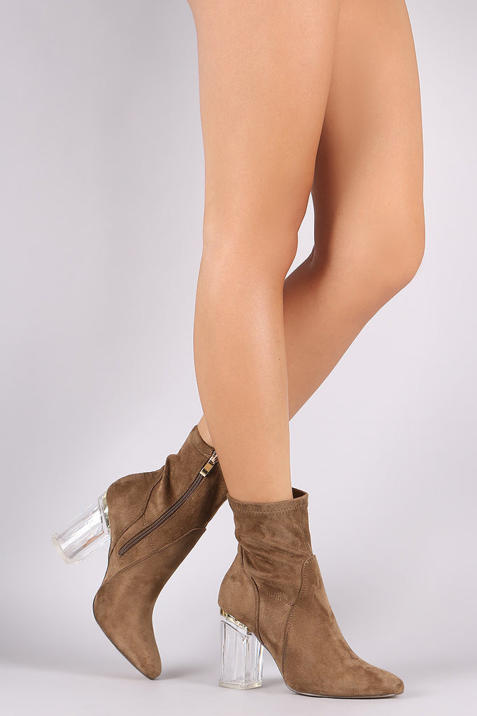 Suede Chunky Lucite Heeled Ankle Boots - Rich Girl's Closet - 1