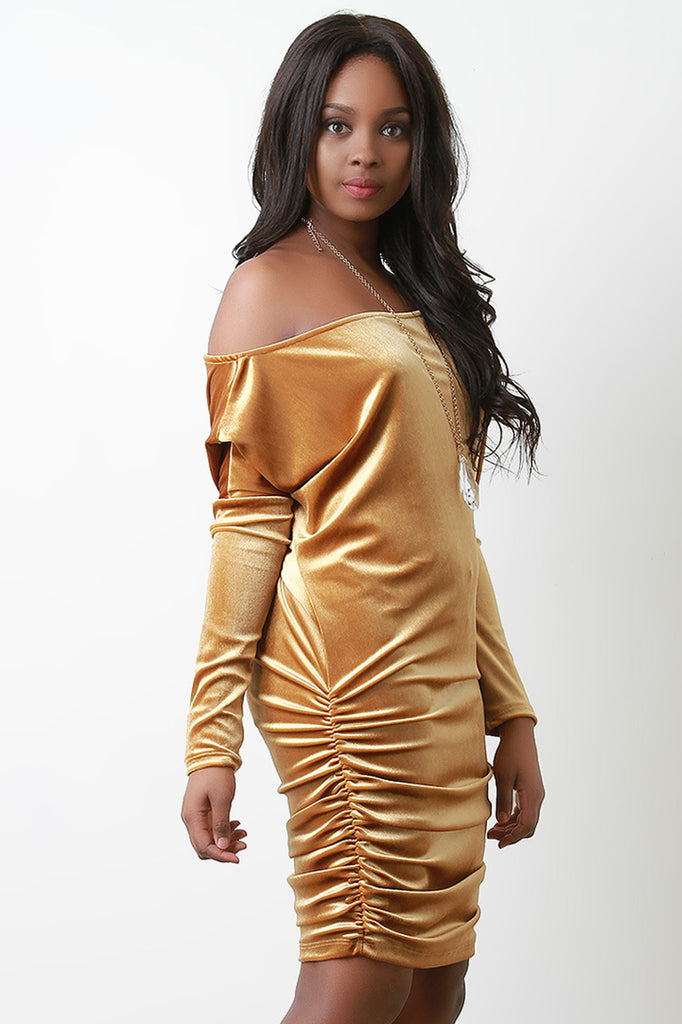 Velvet Off The Shoulder Ruched Long Sleeve Dress