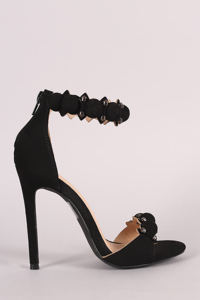 Suede Bullet And Button Ankle Cuff Stiletto Heel - Rich Girl's Closet - 4