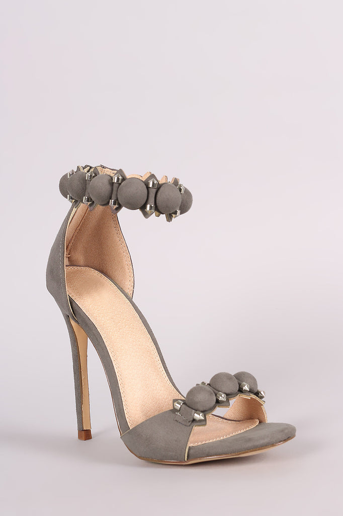 Suede Bullet And Button Ankle Cuff Stiletto Heel - Rich Girl's Closet - 13