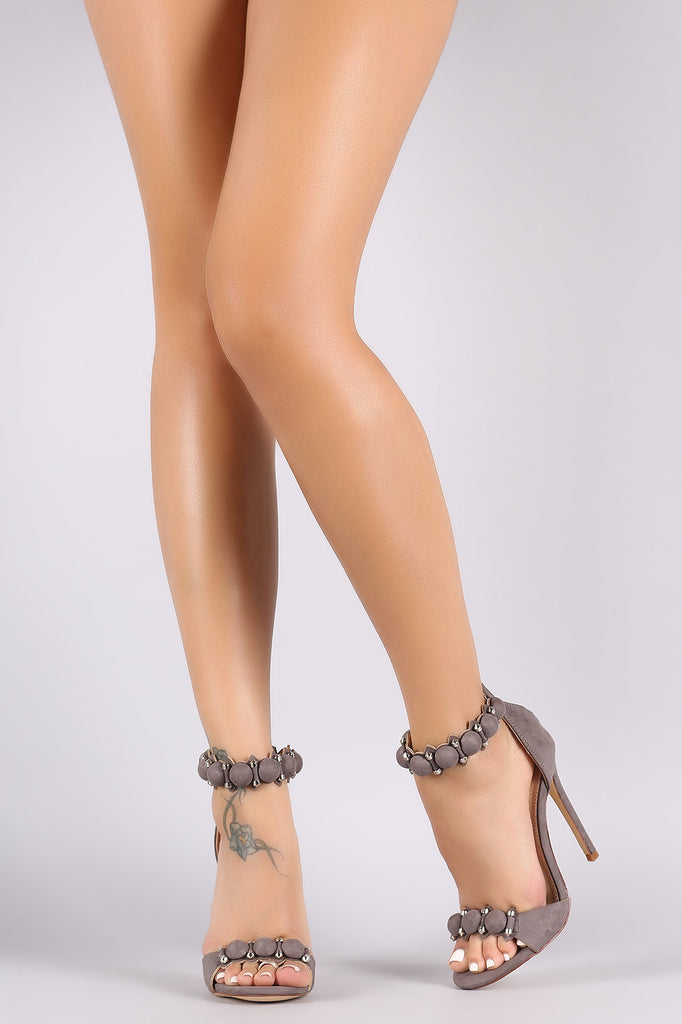 Suede Bullet And Button Ankle Cuff Stiletto Heel - Rich Girl's Closet - 12