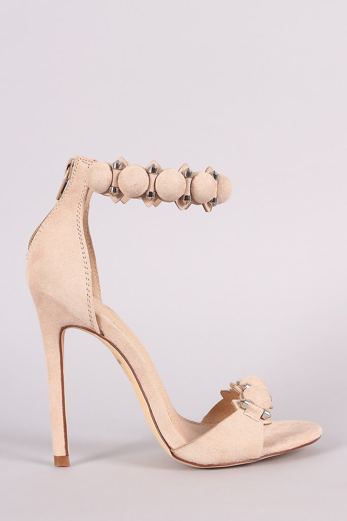 Suede Bullet And Button Ankle Cuff Stiletto Heel - Rich Girl's Closet - 7
