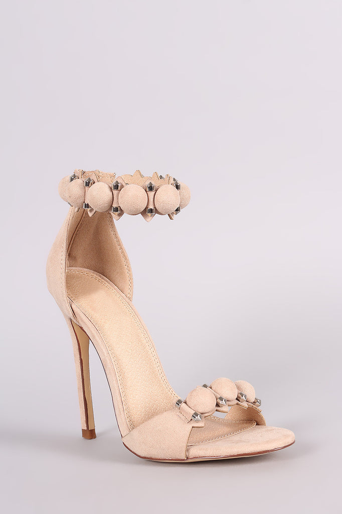 Suede Bullet And Button Ankle Cuff Stiletto Heel - Rich Girl's Closet - 8