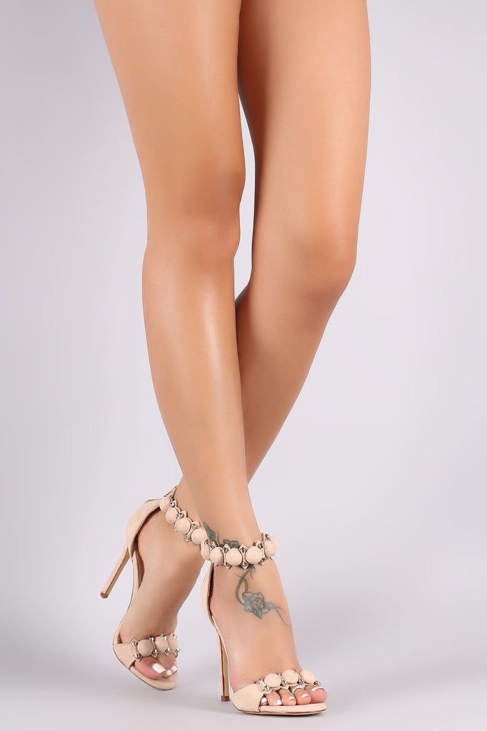 Suede Bullet And Button Ankle Cuff Stiletto Heel - Rich Girl's Closet - 9