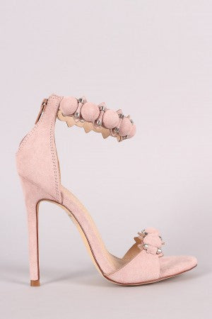 Suede Bullet And Button Ankle Cuff Stiletto Heel - Rich Girl's Closet - 11