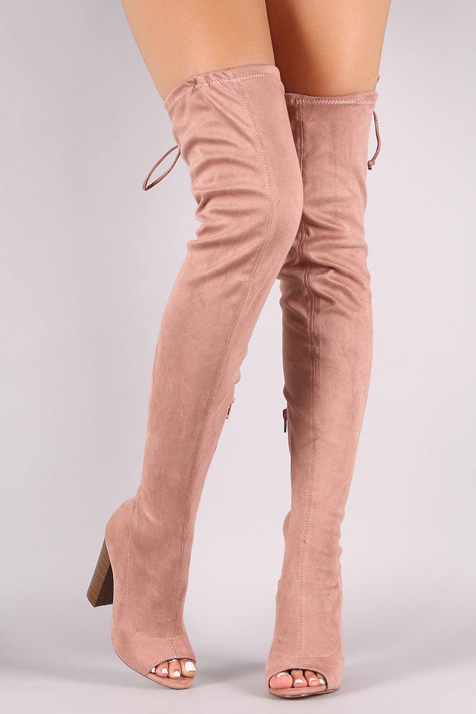 Suede Drawstring-Tie Chunky Heeled Over-The-Knee Boots - Rich Girl's Closet - 5
