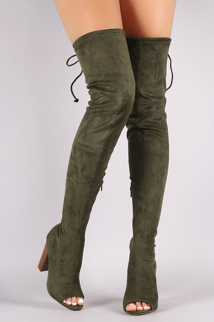 Suede Drawstring-Tie Chunky Heeled Over-The-Knee Boots - Rich Girl's Closet - 2