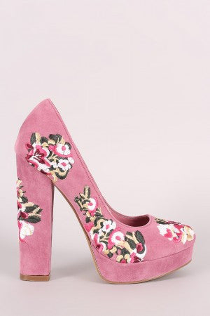 Shoe Republic LA Embroidered Floral Round Toe Platform Pump - Rich Girl's Closet - 8