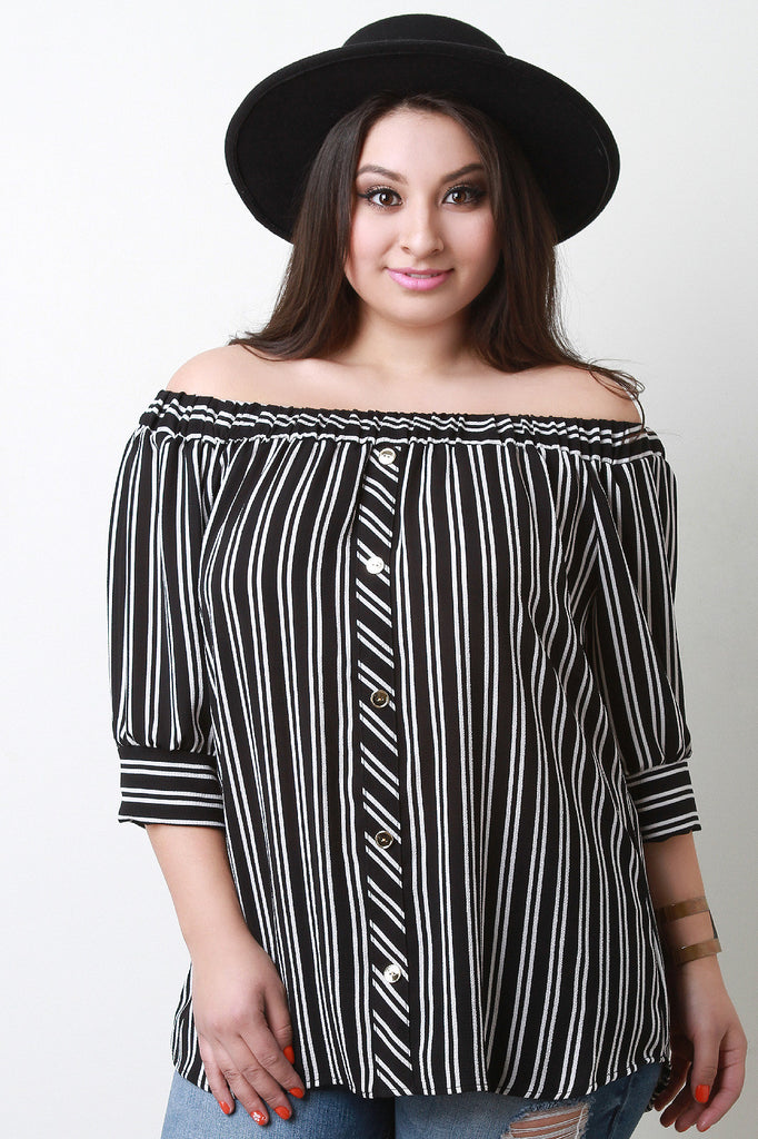 Striped Button Accent Off The Shoulder Top - Rich Girl's Closet - 1