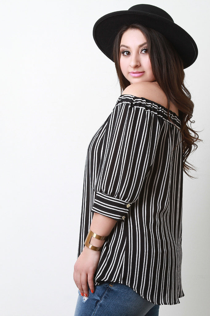 Striped Button Accent Off The Shoulder Top - Rich Girl's Closet - 3