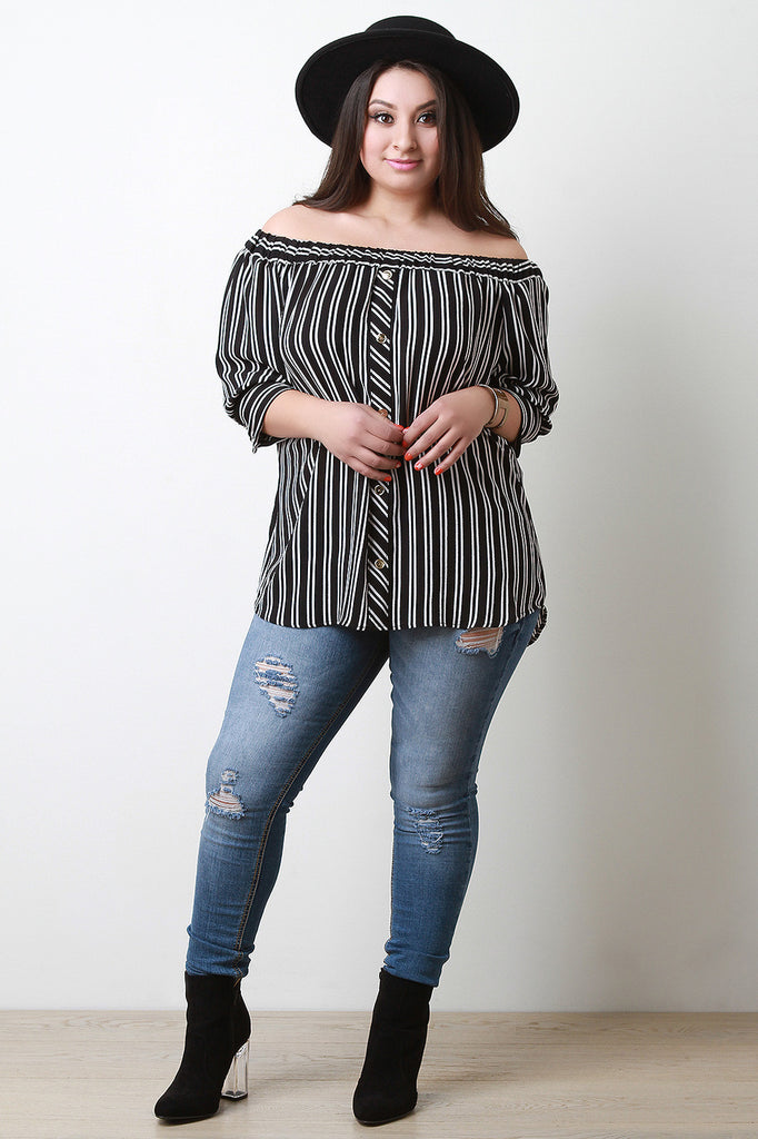 Striped Button Accent Off The Shoulder Top - Rich Girl's Closet - 2