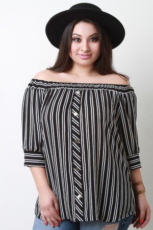 Striped Button Accent Off The Shoulder Top - Rich Girl's Closet - 4
