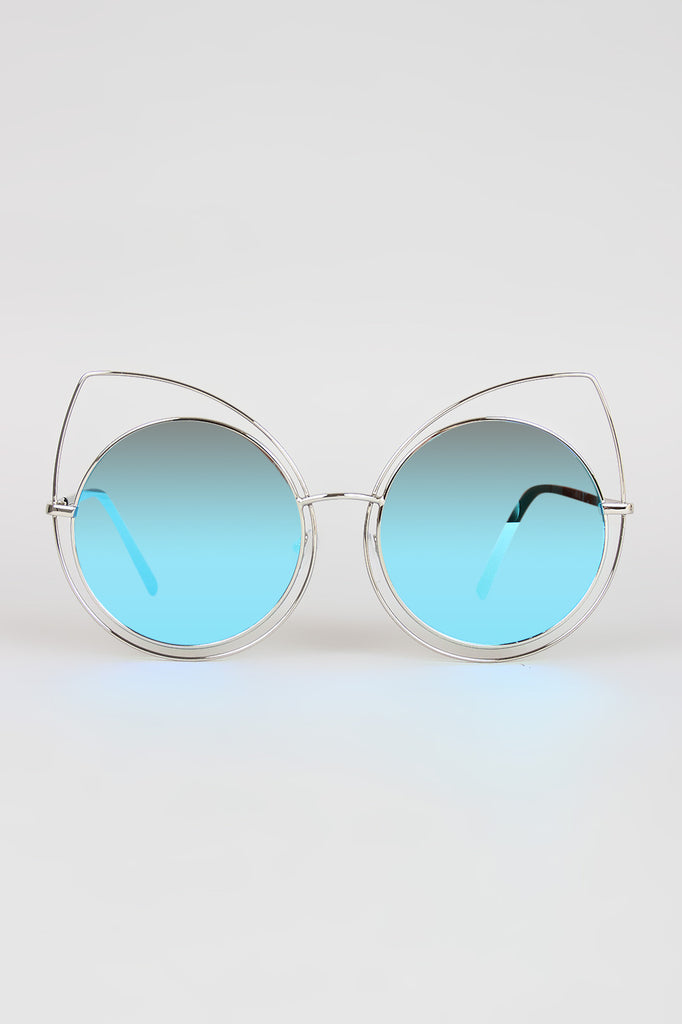 Wire Frame Cat Eye Mirrored Sunglasses - Rich Girl's Closet - 4