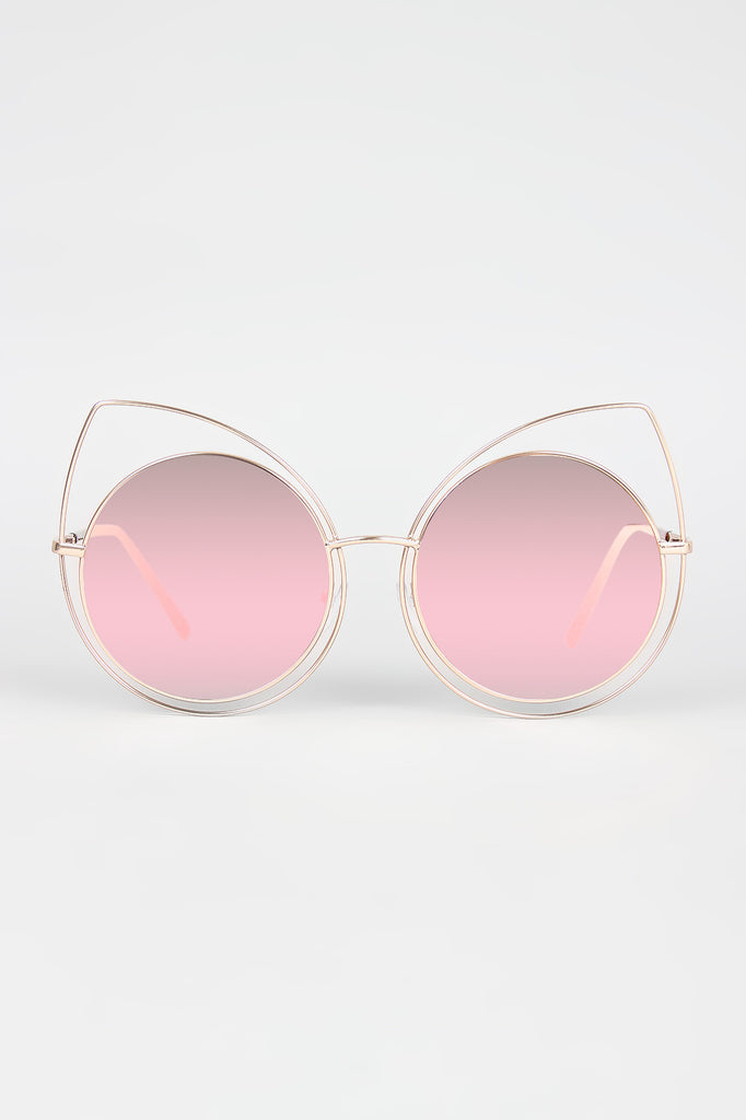 Wire Frame Cat Eye Mirrored Sunglasses - Rich Girl's Closet - 6