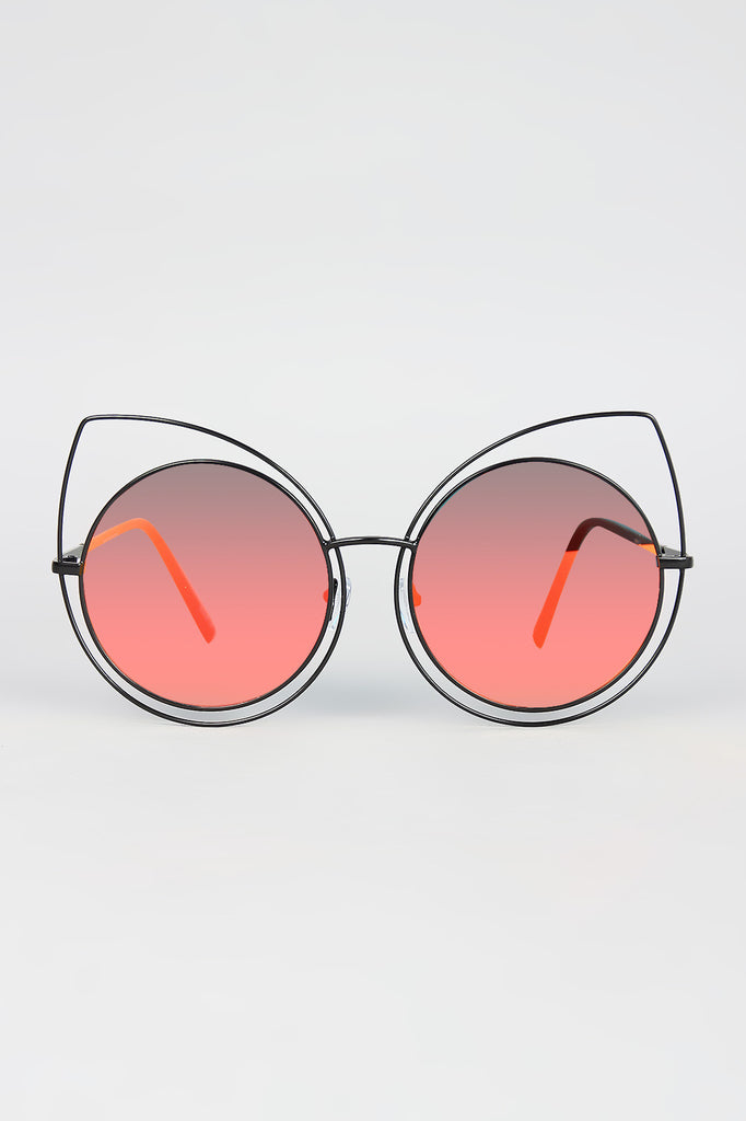 Wire Frame Cat Eye Mirrored Sunglasses - Rich Girl's Closet - 2