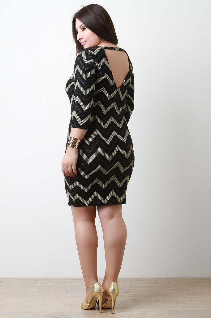 Metallic Chevron Bodycon Dress - Rich Girl's Closet - 1