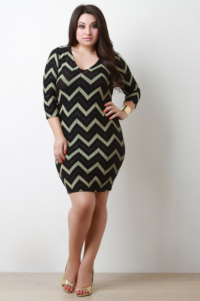 Metallic Chevron Bodycon Dress - Rich Girl's Closet - 2