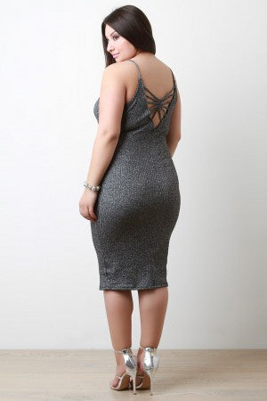 Caged Back Metallic Ribbed Knit Midi Dress - Rich Girl's Closet - 7