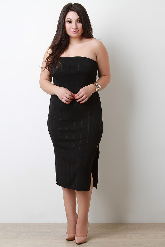Plus Size Vertical Tube Bandage Dress - Rich Girl's Closet - 8