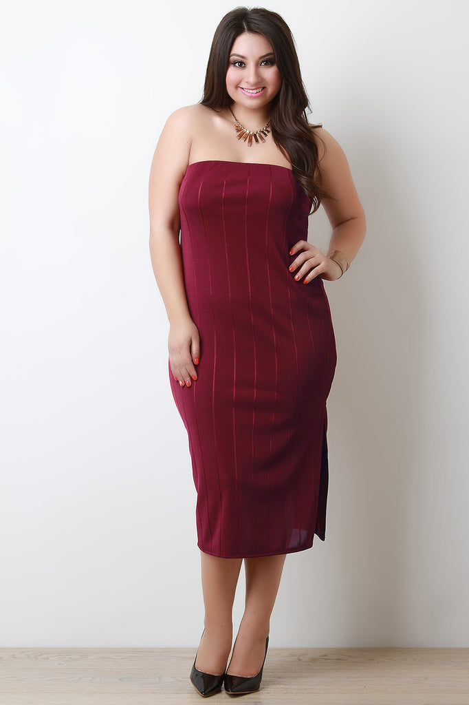 Plus Size Vertical Tube Bandage Dress - Rich Girl's Closet - 5