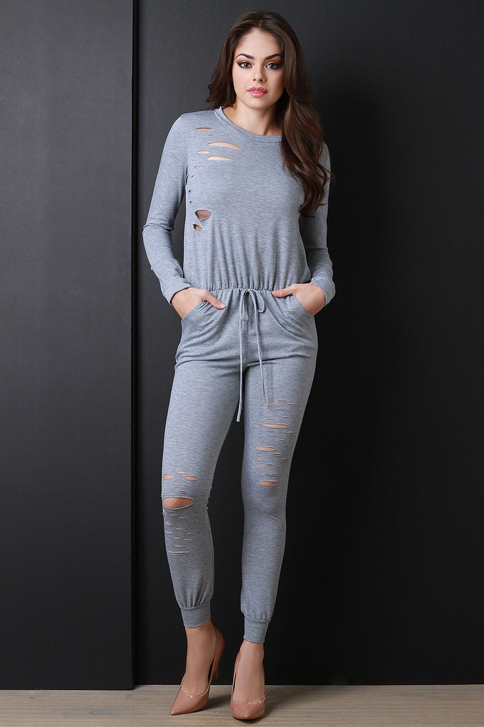 Distressed Drawstring Long Sleeve Jumpsuit - Rich Girl's Closet - 11