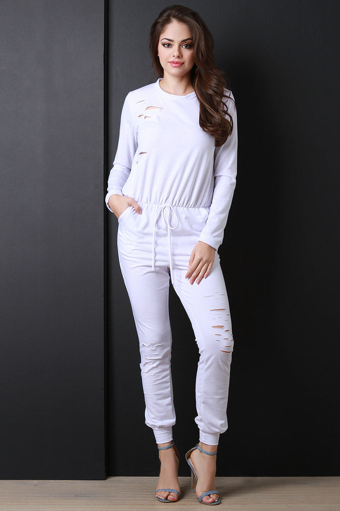 Distressed Drawstring Long Sleeve Jumpsuit - Rich Girl's Closet - 10