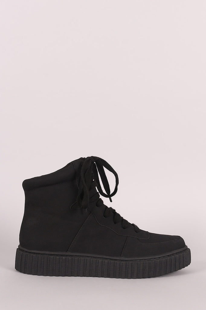 Nubuck Round Toe Lace Up High Top Creeper Sneaker - Rich Girl's Closet - 7