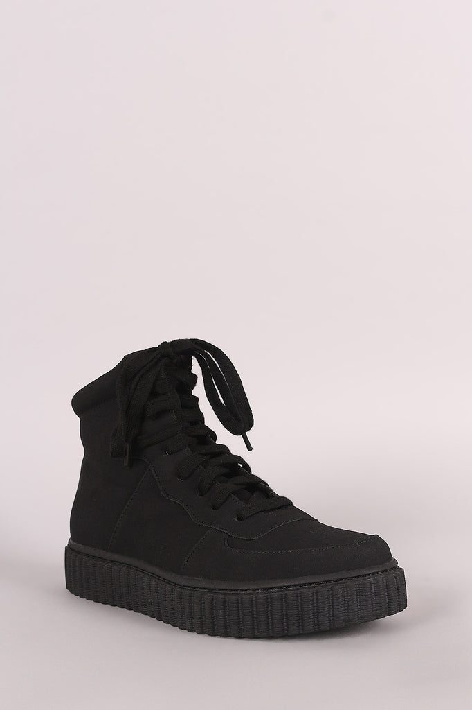 Nubuck Round Toe Lace Up High Top Creeper Sneaker - Rich Girl's Closet - 8
