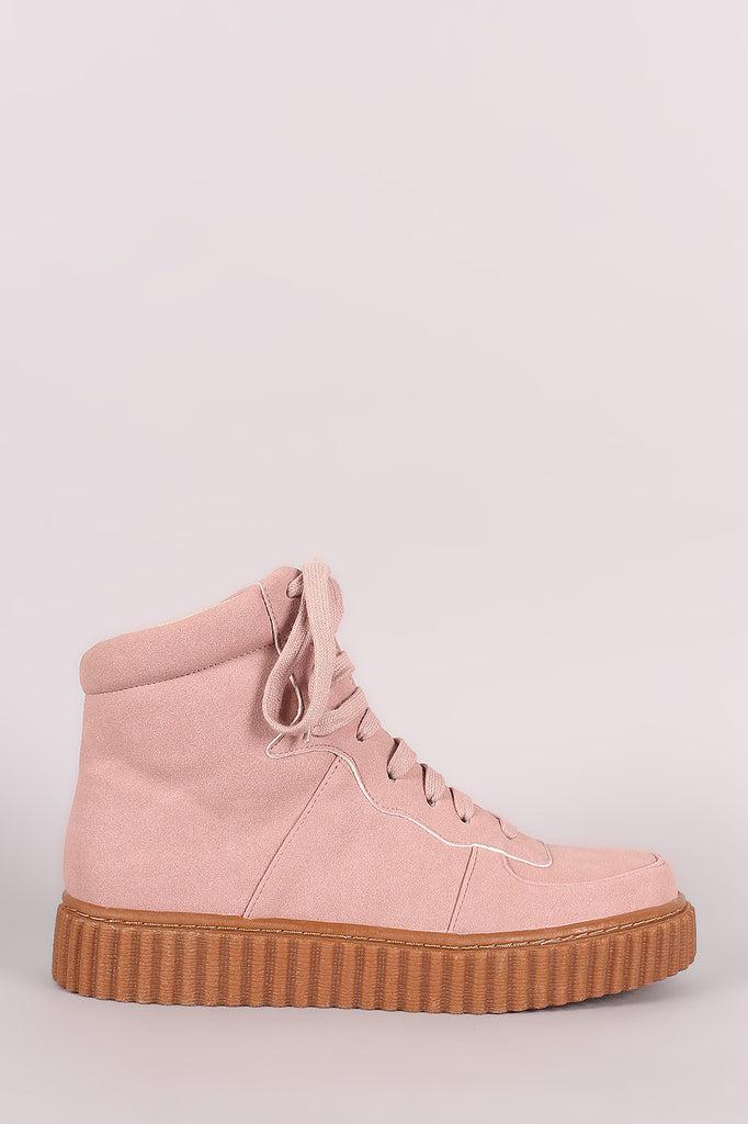 Nubuck Round Toe Lace Up High Top Creeper Sneaker - Rich Girl's Closet - 4