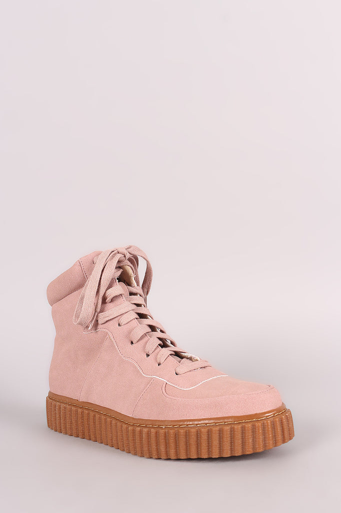 Nubuck Round Toe Lace Up High Top Creeper Sneaker - Rich Girl's Closet - 5