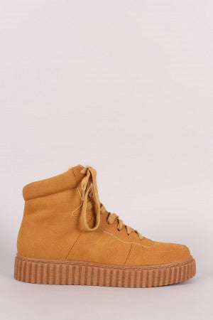 Nubuck Round Toe Lace Up High Top Creeper Sneaker - Rich Girl's Closet - 13