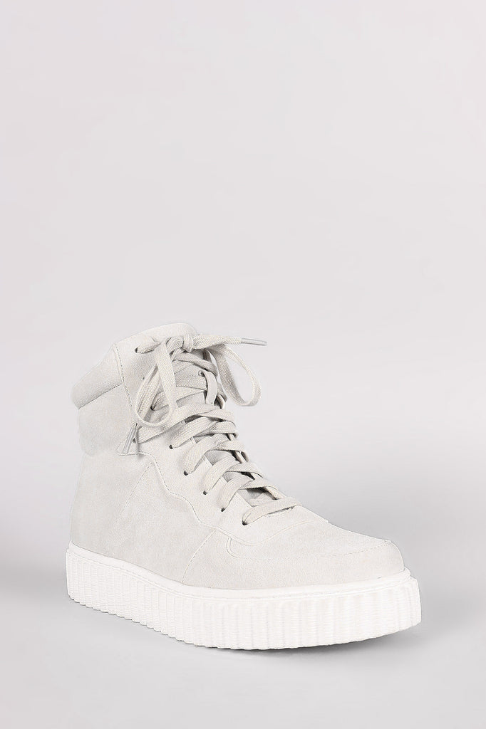 Nubuck Round Toe Lace Up High Top Creeper Sneaker - Rich Girl's Closet - 2