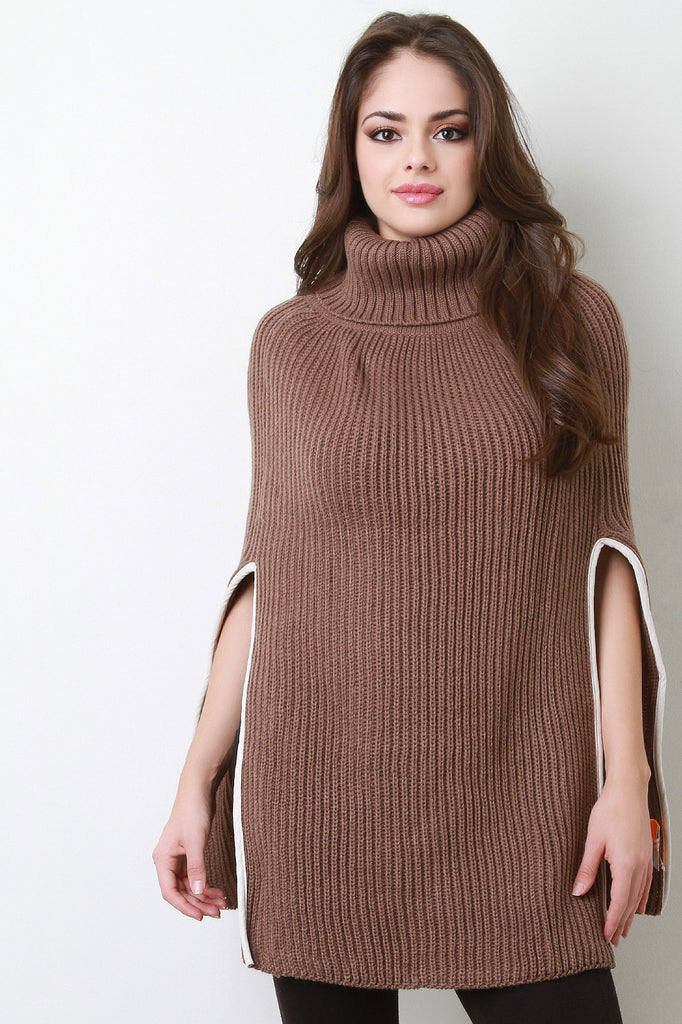 Knitted Turtle Neck Poncho - Rich Girl's Closet - 7