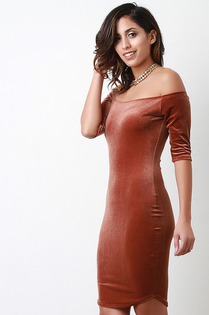 Smooth Velvet Of The Shoulder Mini Dress - Rich Girl's Closet - 6