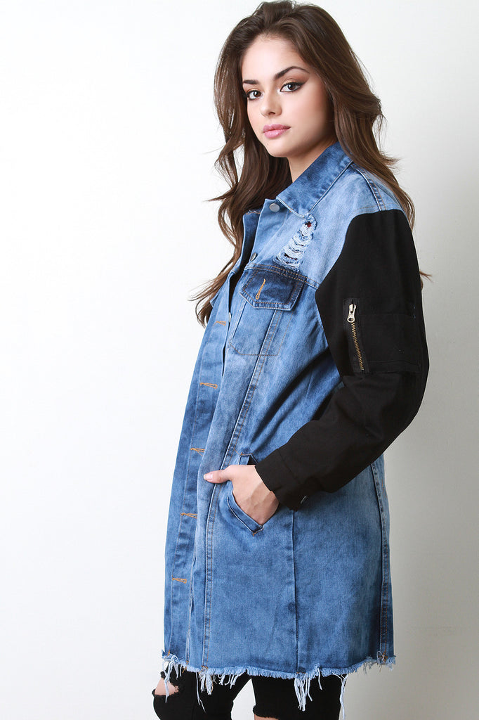 Contrast Sleeves Longline Denim Jacket - Rich Girl's Closet - 1