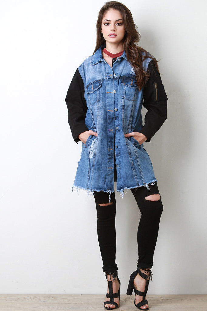 Contrast Sleeves Longline Denim Jacket - Rich Girl's Closet - 3