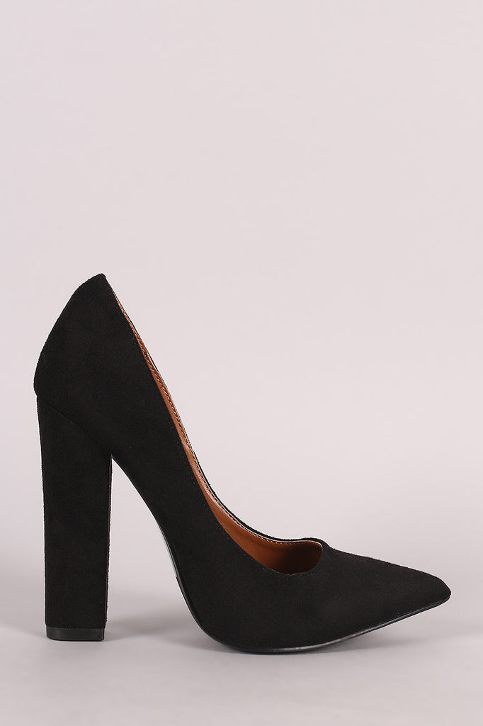 Shoe Republic LA Suede Pointy Toe Chunky Heeled Pump - Rich Girl's Closet - 9