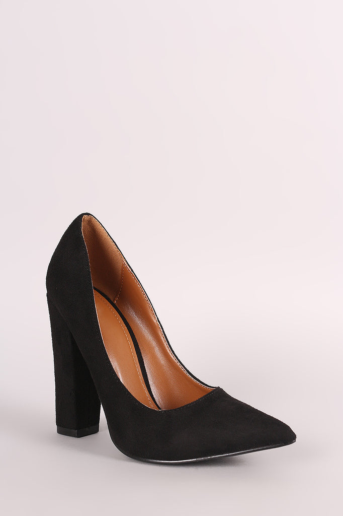 Shoe Republic LA Suede Pointy Toe Chunky Heeled Pump - Rich Girl's Closet - 8