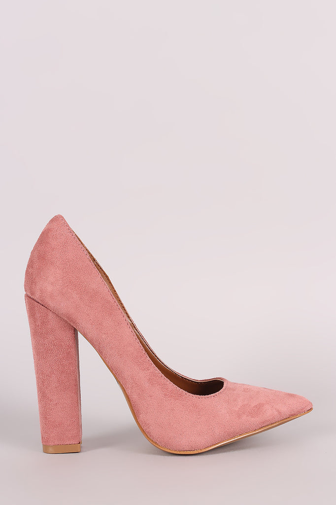 Shoe Republic LA Suede Pointy Toe Chunky Heeled Pump - Rich Girl's Closet - 1