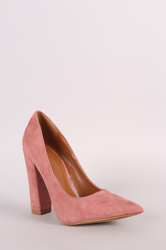 Shoe Republic LA Suede Pointy Toe Chunky Heeled Pump - Rich Girl's Closet - 2