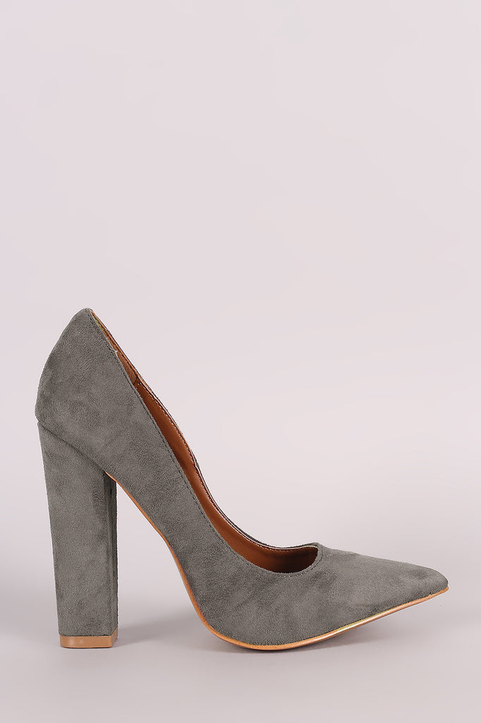 Shoe Republic LA Suede Pointy Toe Chunky Heeled Pump - Rich Girl's Closet - 6