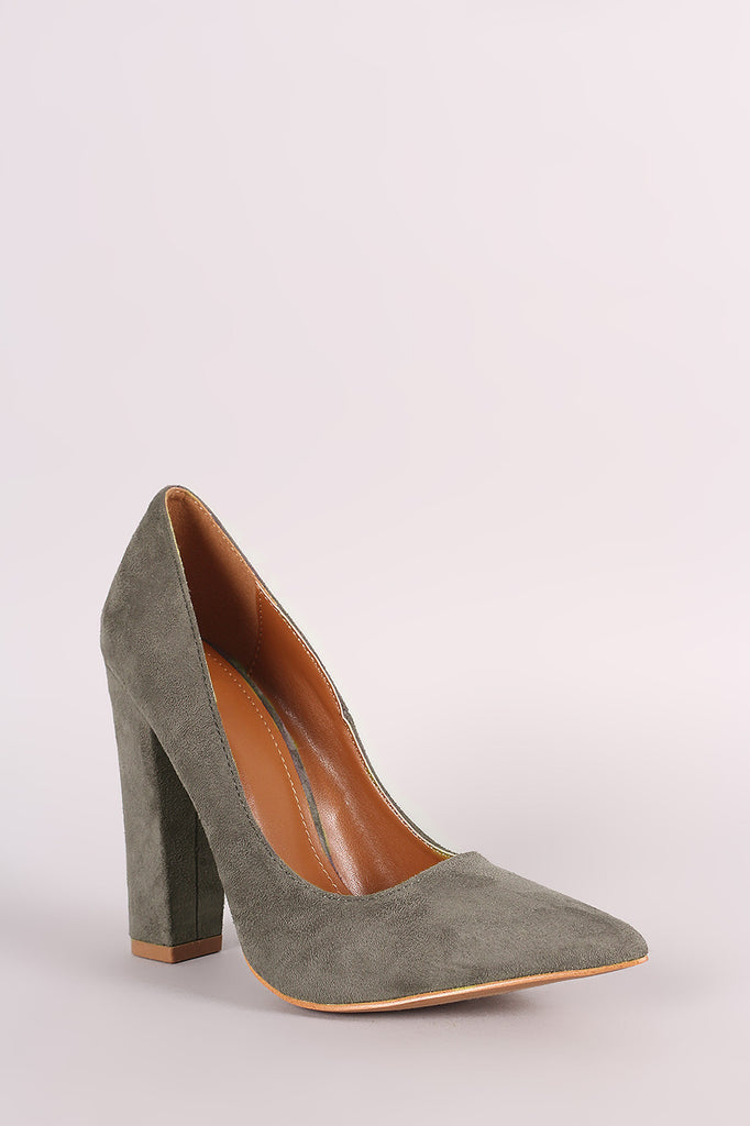 Shoe Republic LA Suede Pointy Toe Chunky Heeled Pump - Rich Girl's Closet - 5