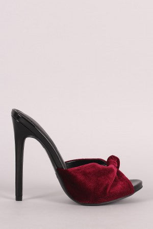 Shoe Republic LA Crushed Velvet Knotted Slide Stiletto Heel - Rich Girl's Closet - 4