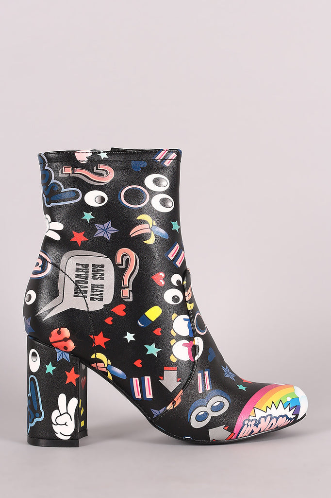 Shoe Republic LA Emoji Print Chunky Heeled Ankle Boots - Rich Girl's Closet - 3