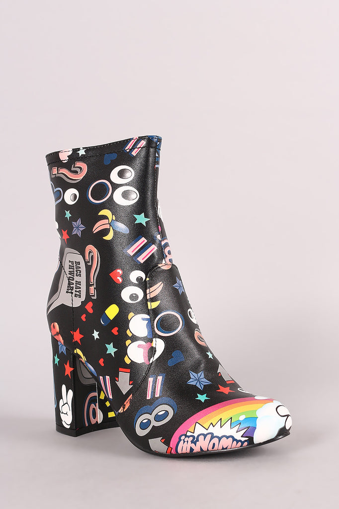 Shoe Republic LA Emoji Print Chunky Heeled Ankle Boots - Rich Girl's Closet - 5