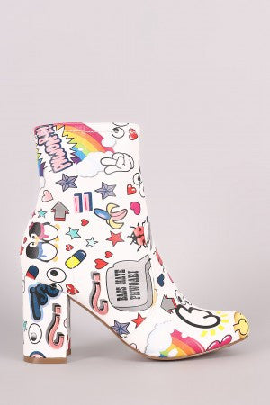 Shoe Republic LA Emoji Print Chunky Heeled Ankle Boots - Rich Girl's Closet - 7