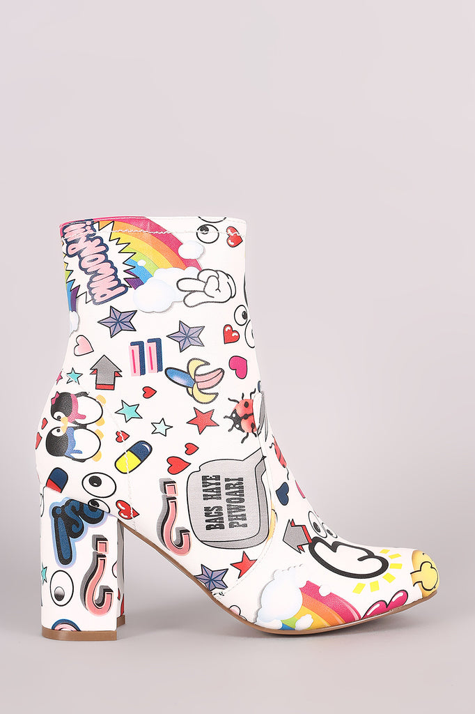 Shoe Republic LA Emoji Print Chunky Heeled Ankle Boots - Rich Girl's Closet - 1