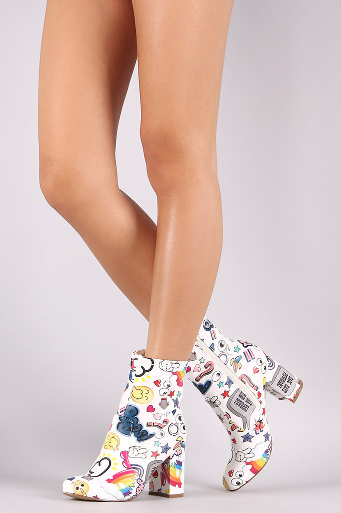 Shoe Republic LA Emoji Print Chunky Heeled Ankle Boots - Rich Girl's Closet - 4
