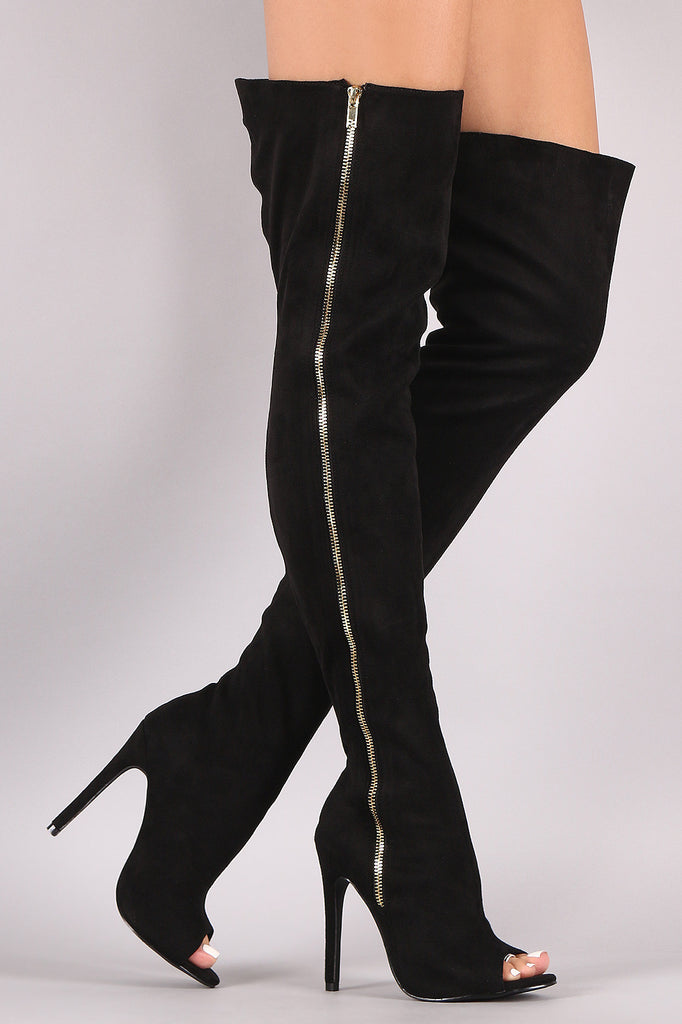 Liliana Suede Zip Up Over-The-Knee Stiletto Boots